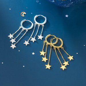 NEW 925 Sterling Silver Star Tassel Hoop Earrings